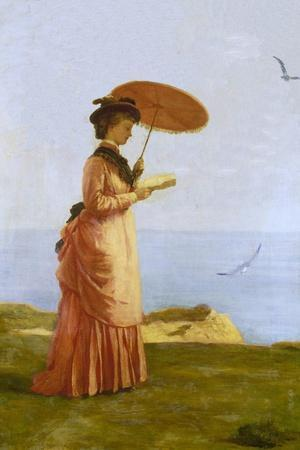 Lady with Parasol Reading, Isle of Wight (Emily Prinsep)-Valentine Cameron Prinsep-Stretched Canvas Print