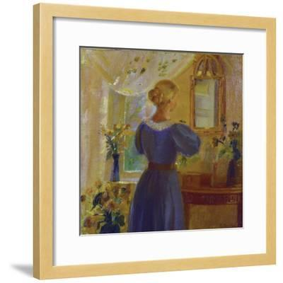 An Interior with a Woman Looking in a Mirror, 1900-Michael Peter Ancher-Framed Giclee Print