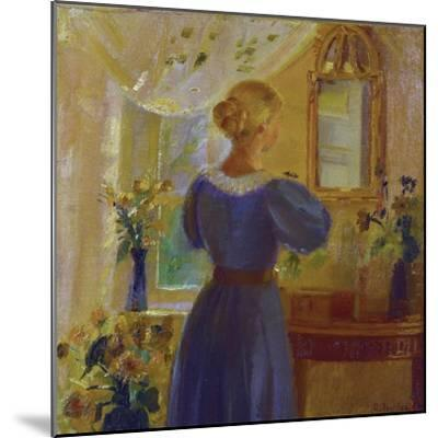 An Interior with a Woman Looking in a Mirror, 1900-Michael Peter Ancher-Mounted Giclee Print