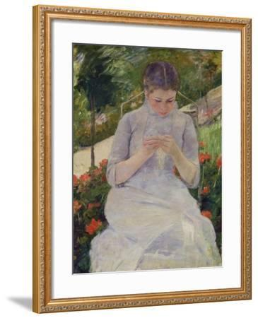 Young Woman Sewing in the Garden, ca. 1880/82-Mary Cassatt-Framed Giclee Print