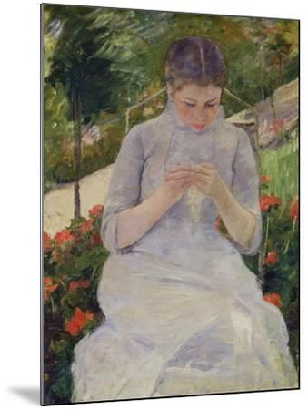 Young Woman Sewing in the Garden, ca. 1880/82-Mary Cassatt-Mounted Giclee Print