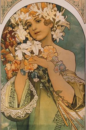 Blume, 1897-Alphonse Mucha-Stretched Canvas Print