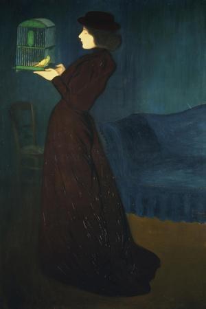 Dame Mit Vogelkaefig, 1892-Jozsef Rippl-Ronai-Stretched Canvas Print