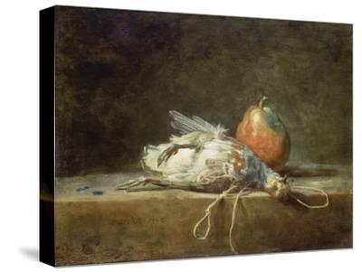 Still Life with Partridge and Pear, 1748-Jean-Baptiste Simeon Chardin-Stretched Canvas Print