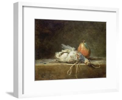 Still Life with Partridge and Pear, 1748-Jean-Baptiste Simeon Chardin-Framed Giclee Print
