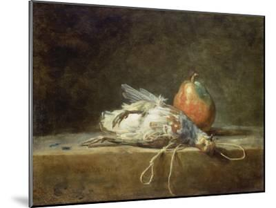Still Life with Partridge and Pear, 1748-Jean-Baptiste Simeon Chardin-Mounted Giclee Print