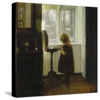 A Girl Standing by a Sewing Table-Carl Holsoe-Stretched Canvas Print