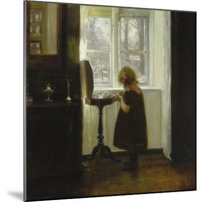 A Girl Standing by a Sewing Table-Carl Holsoe-Mounted Giclee Print