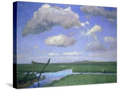 Sommertag in Der Hammeniederung Mit Blick Auf Den Weyerberg, um 1900-Fritz Overbeck-Stretched Canvas Print
