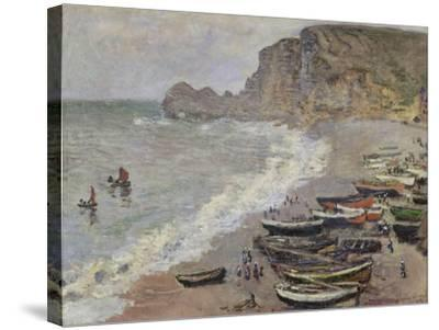 Etretat, Beach and the Porte D'Amont, 1883-Claude Monet-Stretched Canvas Print