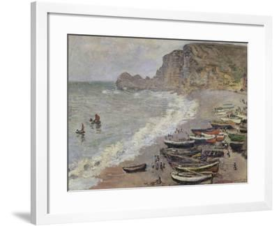 Etretat, Beach and the Porte D'Amont, 1883-Claude Monet-Framed Giclee Print