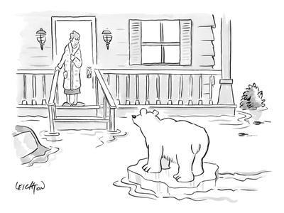 A Woman in her bathrobe steps out on her porch to see a flood surrounding ? - New Yorker Cartoon-Robert Leighton-Framed Premium Giclee Print