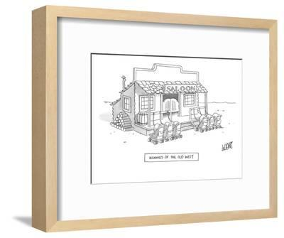 A roll of strollers sits outside an old west saloon. - New Yorker Cartoon-Glen Le Lievre-Framed Premium Giclee Print