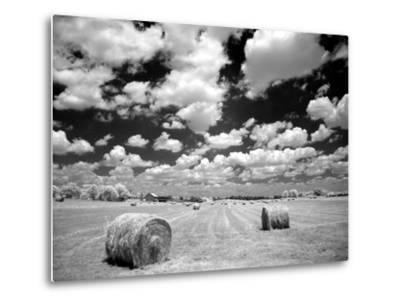 A Hayfield with Summer Clouds-Rip Smith-Metal Print