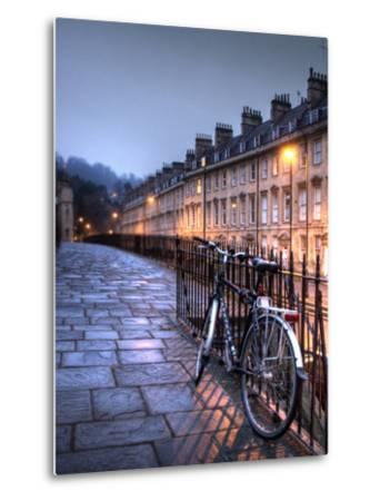 Night Winter Street Scene in Bath, Somerset, England-Tim Kahane-Metal Print