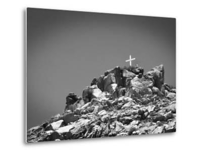 Cross on Top of Sandia Mountain Boulder Mound Landscape in Black and White, New Mexico-Kevin Lange-Metal Print