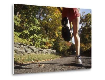 Female Runner Out on the Trails--Metal Print