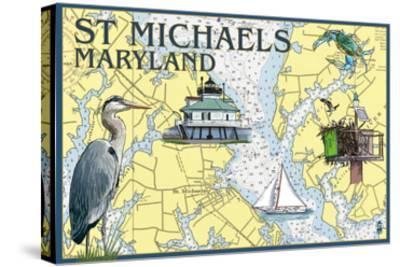 St. Michaels, Maryland - Nautical Chart-Lantern Press-Stretched Canvas Print
