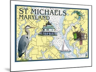 St. Michaels, Maryland - Nautical Chart-Lantern Press-Mounted Art Print