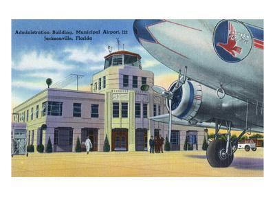 Jacksonville, Florida - Municipal Airport Administration Building-Lantern Press-Framed Art Print