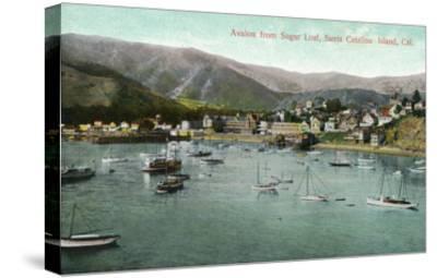 Santa Catalina Island, California - View of Avalon Bay from Sugar Loaf-Lantern Press-Stretched Canvas Print
