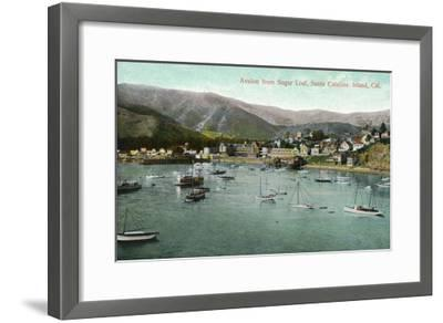 Santa Catalina Island, California - View of Avalon Bay from Sugar Loaf-Lantern Press-Framed Art Print