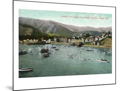 Santa Catalina Island, California - View of Avalon Bay from Sugar Loaf-Lantern Press-Mounted Art Print