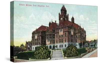 Los Angeles, California - Exterior View of the Court House-Lantern Press-Stretched Canvas Print