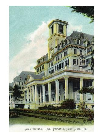 Palm Beach, Florida - Royal Poinciana Main Entrance View-Lantern Press-Framed Art Print