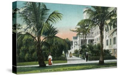 Palm Beach, Florida - Royal Poinciana Entrance and Grounds View-Lantern Press-Stretched Canvas Print