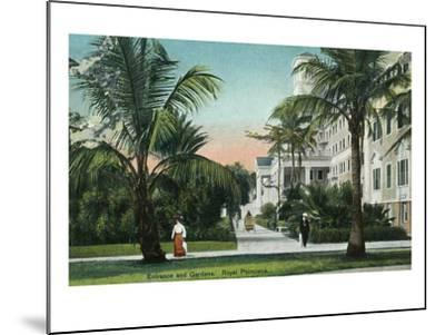 Palm Beach, Florida - Royal Poinciana Entrance and Grounds View-Lantern Press-Mounted Art Print
