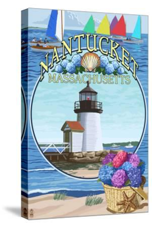 Nantucket, Massachusetts Montage-Lantern Press-Stretched Canvas Print