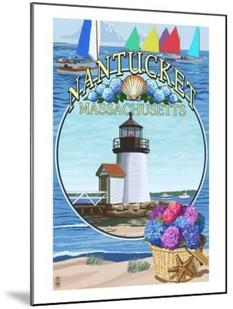 Nantucket, Massachusetts Montage-Lantern Press-Mounted Art Print