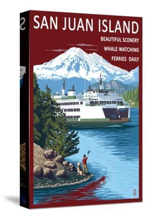 San Juan Island, Washington - Ferry in Passage-Lantern Press-Stretched Canvas Print
