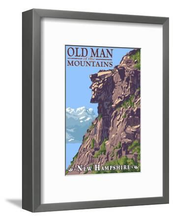 Old Man of the Mountains - New Hampshire-Lantern Press-Framed Art Print
