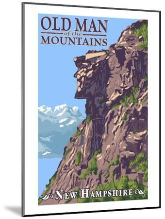 Old Man of the Mountains - New Hampshire-Lantern Press-Mounted Art Print
