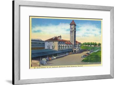 Baltimore, Maryland - Mt. Royal Station, Baltimore and Ohio Railroad View-Lantern Press-Framed Art Print