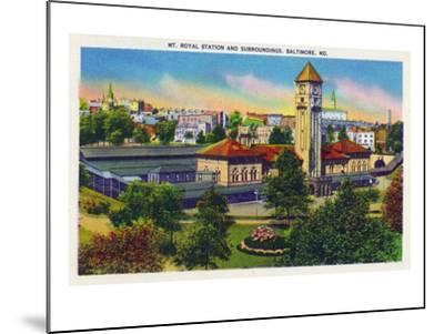 Baltimore, Maryland - Mt. Royal Station and Surrounding Grounds View-Lantern Press-Mounted Art Print