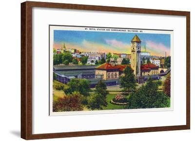 Baltimore, Maryland - Mt. Royal Station and Surrounding Grounds View-Lantern Press-Framed Art Print