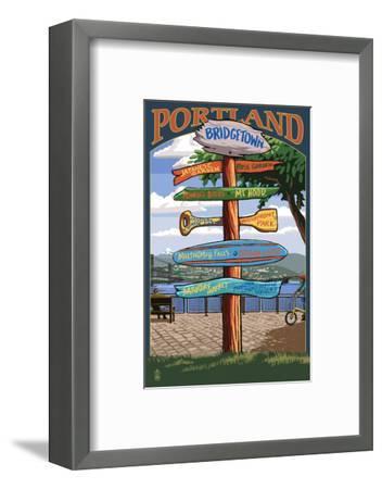 Portland, Oregon Destinations Sign - Powell's Books-Lantern Press-Framed Art Print