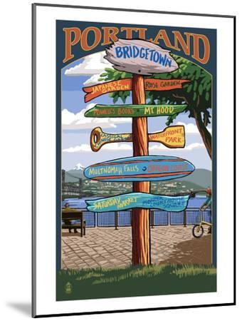 Portland, Oregon Destinations Sign - Powell's Books-Lantern Press-Mounted Art Print