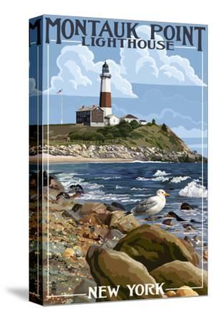 Montauk Point Lighthouse - New York-Lantern Press-Stretched Canvas Print