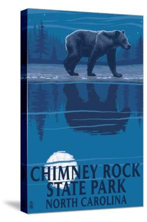 Chimney Rock State Park, NC - Bear at Night-Lantern Press-Stretched Canvas Print