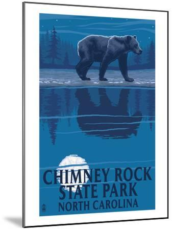 Chimney Rock State Park, NC - Bear at Night-Lantern Press-Mounted Art Print