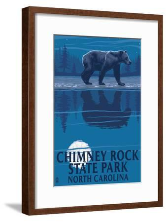 Chimney Rock State Park, NC - Bear at Night-Lantern Press-Framed Art Print