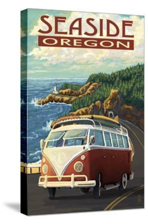 VW Van Coastal Drive - Seaside, Oregon-Lantern Press-Stretched Canvas Print