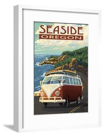 VW Van Coastal Drive - Seaside, Oregon-Lantern Press-Framed Art Print