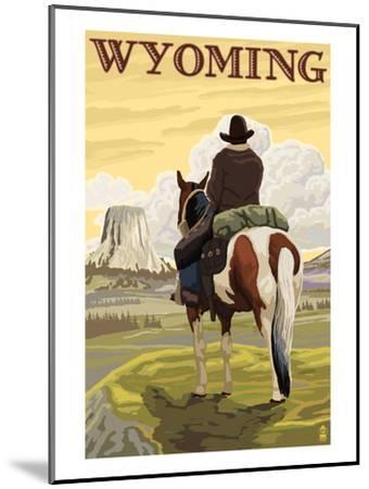 Cowboy and Devil's Tower - Wyoming-Lantern Press-Mounted Art Print
