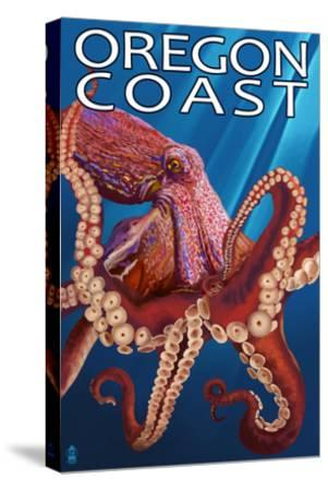 Oregon Coast - Red Octopus-Lantern Press-Stretched Canvas Print