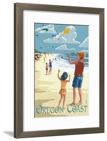 Oregon Coast - Kite Flyers-Lantern Press-Framed Art Print